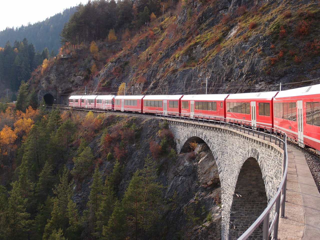 Alvra train on the Landwasser Viaduct